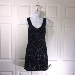 Amber Blue Black Sequin cocktail dress size small